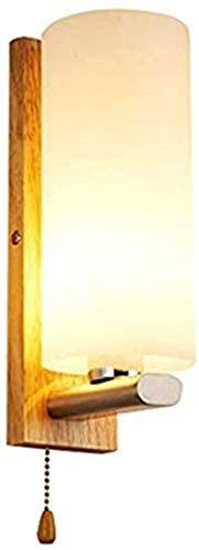 Aplique de pared industrial LED, Moderno interior de la pared de la pared de la pared simple cilíndrica acrílico de la sombra de la pared de la linterna de la linterna de madera japonés E27 con la lám
