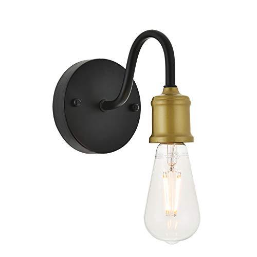 ELUZE One Light Modern Style Wall Lamp,Black+ Aged Brass Industrial Bathroom Vanity Light Fixture for Bedroom Nightstand, Living Room