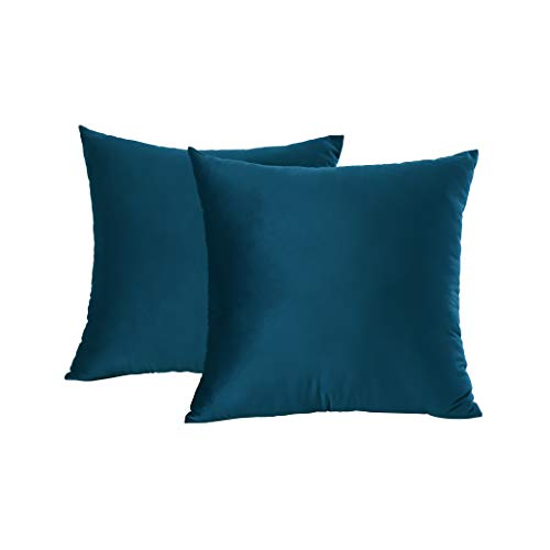 VERCART Juego de 2 Terciopelo Fundas Cojines Decorativas Cuadrado Suave Fundas de Almohada para Sofá Dormitorio Coche Cama Sillas, Azul 45x45cm