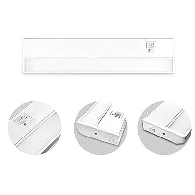 JULLISON LED Under Cabinet Light, Under Counter Light, Plug-in or Hardwired, 120VAC, 10W, CRI90+, 660 Lumens, 3 Colors Changing, 2700K-3000K-4000K, Linkable, ETL Listed, Damp Location - White