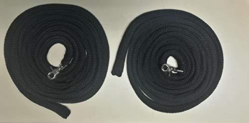 Pferdeseile_DE Langzügel aus Baumwolle 2 x 4 Meter - Farbe: schwarz