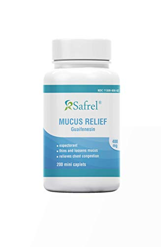 Safrel Mucus Relief Medicine Guaifenesin 400 mg - 200 Mini Tablets | Fast Acting Expectorant, Thins and Loosens Mucus, Relieves Chest Congestion, Cough, Cold and Flu | Compare to Mucinex Tablets
