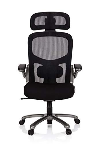 hjh OFFICE 736121 XXL Drehstuhl Instructor T PRO Stoff/Netz Schwarz Titan Stuhl bis 220-kg belastbar, m. Kopfstütze