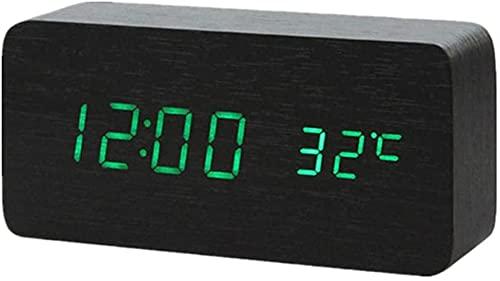 LFERRTYZ Reloj Despertador Digital de Madera Luz Digital alimentada Junto a la Cama Niños Dab Radio Sunrise White 2