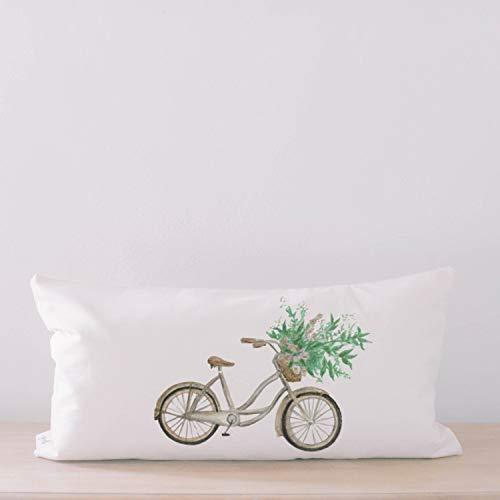 Meg121ace SALE natuurlijke Lumbar kussensloop Floral Bike aquarel