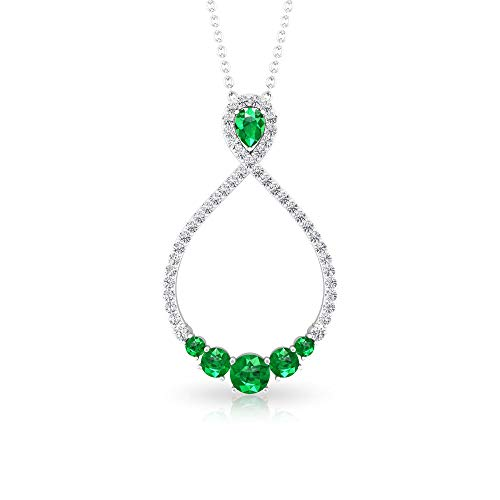0,62 ct esmeralda IGI certificado diamante cúmulo infinito colgante, en forma de pera verde de mayo, aniversario de piedra natal, colgante de piedra preciosa antigua,18K Oro blanco Con cadena