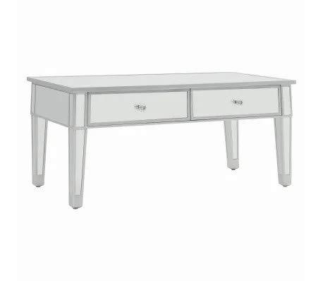 Cikonielf - Tocador de espejo con revestimiento de tela no tejida, marco de tablero DM, pomos de cristal de imitación para muebles de dormitorio, 100 x 50 x 45 cm, cristal de espejo y MDF
