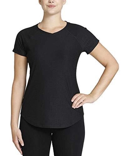 Kirkland Signature Ladies\' Active V-Neck Textured Tee (Black, Large)