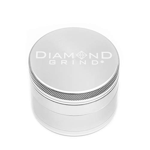 """FAST SHIPPING Diamond Grind 4 Piece Aluminum Herb Grinder with screen 63mm (2.50"""") SILVER"""