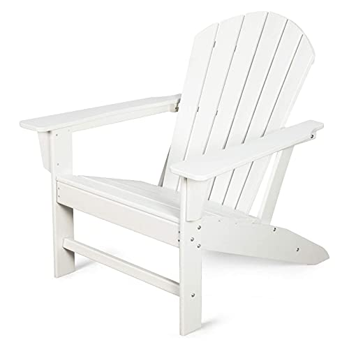 HZWZ Chair Patio Lawn Chair Outdoor Chairs Deck Garden Lounge Chair with 350Lbs Duty Rating(White)