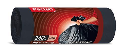 Paclan Lot de 10 sacs poubelle 10 x 240 l, noir 454000