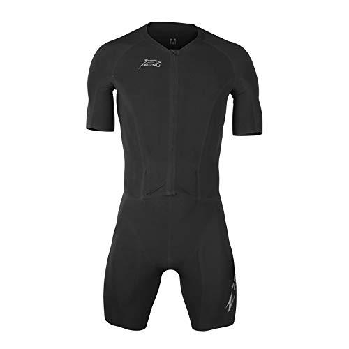 ZAOSU Herren Aerosuit Elite - Trisuit Einteiler | Premium Triathlonanzug mit Arm und höchster Kompression für ambitionierte Triathleten, Größe:XS