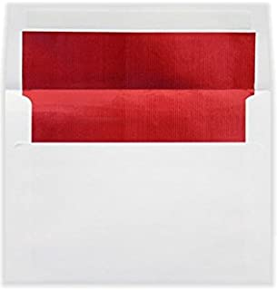 LUXPaper A7 Foil Lined Envelopes in 60 lb. White w/Red LUX Lining, Printable Square Flap Envelopes for Invitations with Peel and Press, 50 Pack, Envelope Size 5 1/4 x 7 1/4 (White)