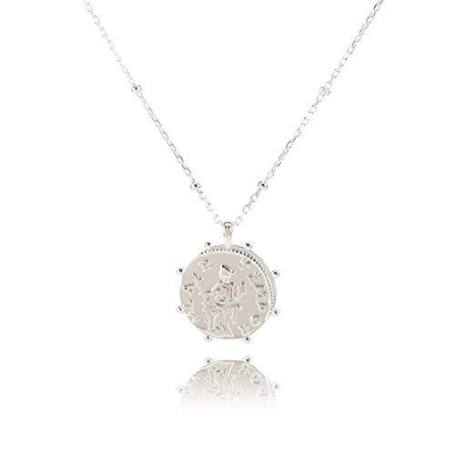 PM Designs Collar de plata de ley 925 con cadena de eslabones delicados con colgante de moneda que muestra Hilar Tempor, para alguien especial