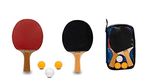 Zagon-Juego de 2 Palas de Ping Pong-1 Funda de Transporte-3 Pelotas de Regalo-Raquetas para Tenis de Mesa para el Juego en Interior y Exterior-Palas roja y Negra-Mango de Tacto Comodo
