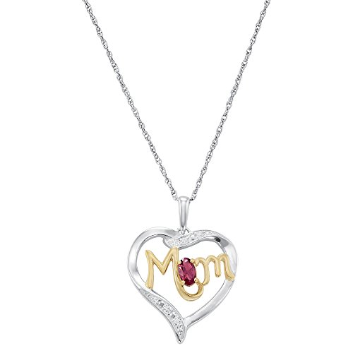 ArtCarved Mom's Love Simulated Ruby Birthstone Sterling Silver Pendant Necklace, 18 Inches