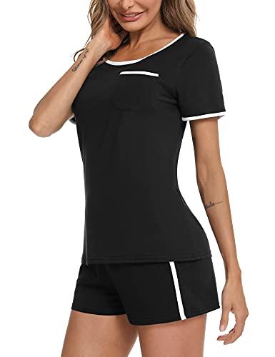 Doaraha Pijamas Cortos para Mujer Verano Pijama Corto de Algodón Suave con Bolsillos Ropa de Dormir Manga Corta Camiseta y Pantalones 2 Piezas (B# Negro, L)
