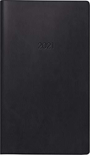 BRUNNEN 1075828901 Taschenkalender Modell 758, 1 Seite = 1 Woche, 8,7 x 15,3 cm, Kunststoff-Einband schwarz, Kalendarium 2021