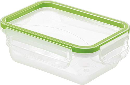 Rotho Clic & Lock Boîte pour Aliments Frais de 0,5L avec Couvercle et Fermeture, Plastique (PP) sans BPA, Transparent / Vert, 0,5L (16,1 x 12,0 x 6,0 cm)