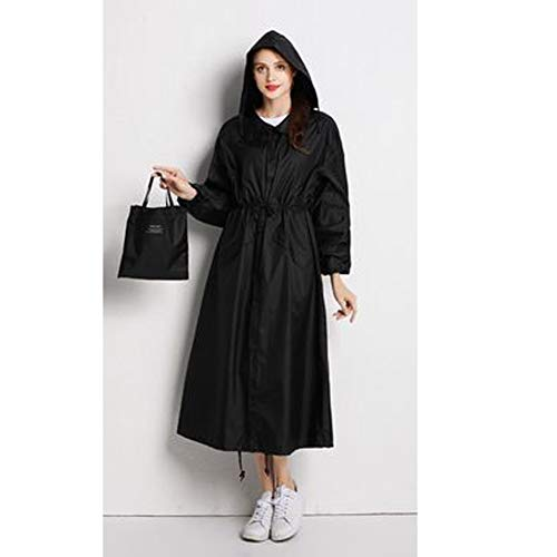 Chubasquero Poncho chubasquero reutilizable, moda alargada, ligero, delgado, tamaño grande, protección contra la lluvia color blackandwhite-L