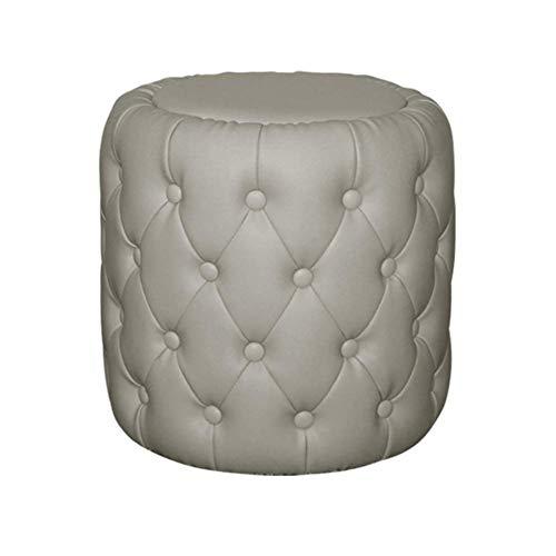 HXCD Reposapiés tapizado de Cuero, Taburete clásico Acolchado con capitoné para Mesa de Centro Sofá Taburete reposapiés Taburete para Cambio de Zapato de Entrada-Gris