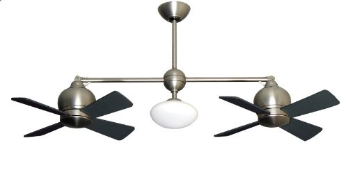 Metropolitan Modern Double Ceiling Fan in Satin Nickel with...