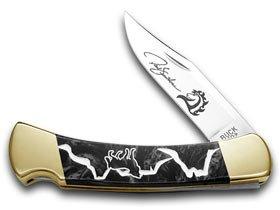Yellowhorse Buck 110 Custom Black Pearl Corelon Wolf Valley 1/250 Pocket Knife