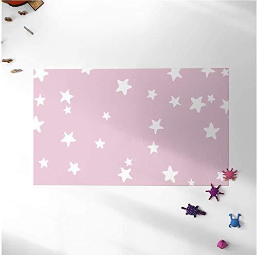 Oedim Alfombra Infantil Estrellas Fondo Rosa para Habitaciones PVC | 95 x 120 cm |Moqueta PVC | Suelo vinílico | Decoración del Hogar | Suelo Sintasol | Suelo de Protección Infantil |