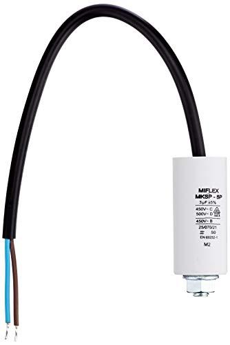 AnlaufKondensator MotorKondensator 3µF 450V 25x53mm Leitung M8 ; Miflex ; 3uF