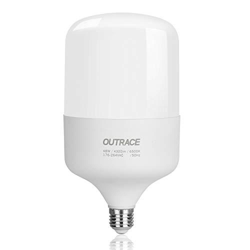 YWX Bombilla LED E27,48W Equivalente a 450W Lámpara Halógena 4320Lm Bombillas LED E27 Luz Fria 6500K Ángulo 360° No Regulable para Garaje Almacén Taller