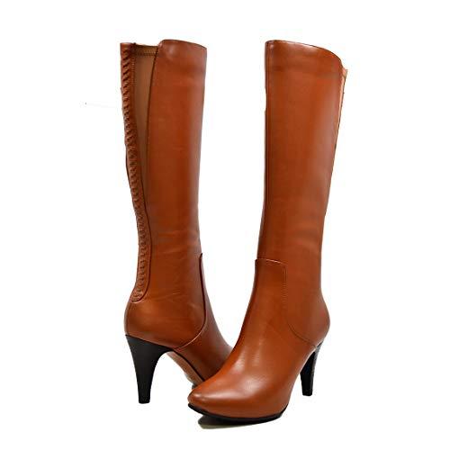 SoleMani Women's Slim Calf Paradise Cognac Leather Boot 6