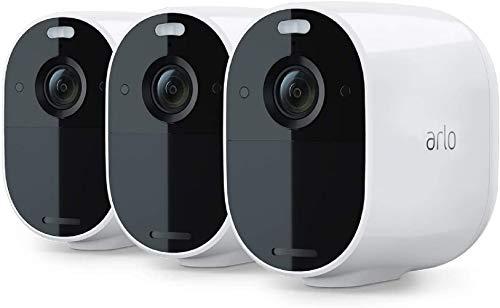 Arlo Essential Spotlight Sistema de Seguridad - 3 Cámaras de Seguridad WiFi Sin Cables, 1080p, Visión Nocturna, Doble Salida de Audio - Blanco
