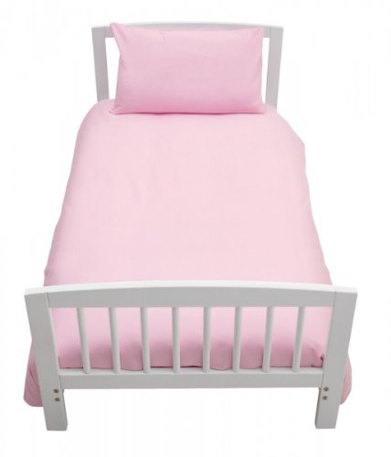 2 Piece Bedding Set Pillowcase+Duvet Cover for Baby Toddler to fit Cot/Cot Bed (120cm x 150cm, Light Pink)