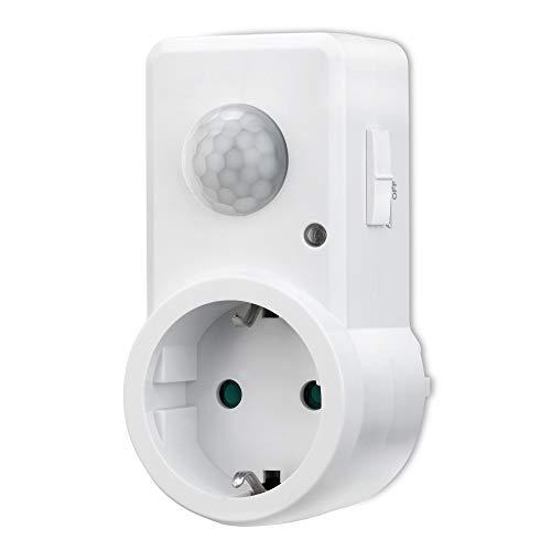 conecto Infrarot Bewegungsmelder für Steckdose innen Zwischenstecker LED 120° IP20 Dämmerungssensor (1 Stück), weiß