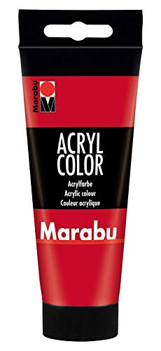 Marabu 12010050031 - Acryl Color kirschrot 100 ml, cremige Acrylfarbe auf Wasserbasis, schnell trocknend, lichtecht, wasserfest, zum Auftragen mit Pinsel und Schwamm auf Leinwand, Papier und Holz