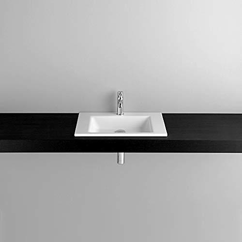 Bette Aqua Einbau-Waschtisch ohne Hahnloch, A050 600 x 495 mm, Farbe: Weiß mit BetteGlasur Plus