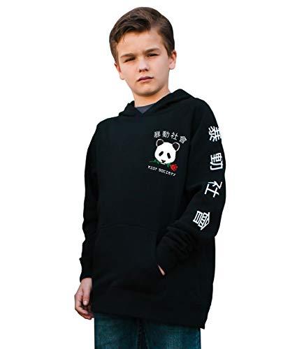 Riot Society Panda Rose Kids Boys Hoodie - Black, X-Large