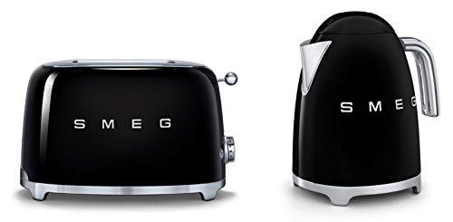 Smeg TSF01BLUK KLF11BLUK | Juego de tostadora y hervidor de agua estilo retro de los años 50 en negro