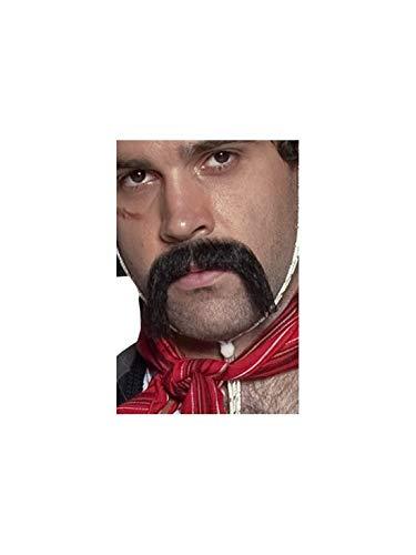 Faschingsfete - Kostüm Accessoires Zubehör großer und buschiger Gringo mexikanischer Herren Schnurrbart Schnauzer Moustache, perfekt für Karneval, Fasching und Fastnacht, Schwarz