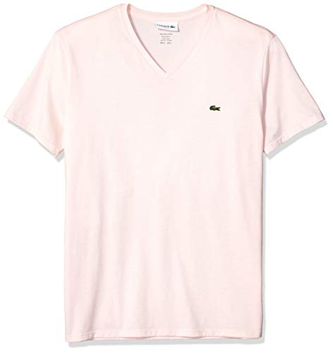 Lacoste Men's Short Sleeve V-Neck Pima Cotton Jersey T-Shirt,Flamingo,Large