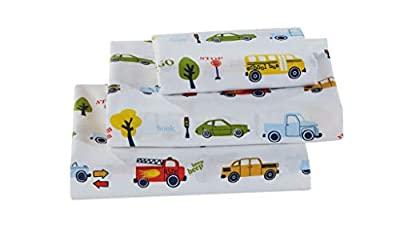 Better Home Style Cars Fire Trucks School Buses Traffic Signs Trees Multicolor Fun Design for Kids/Boys 3 Piece Sheet Set with Pillowcase Flat and Fitted Sheets # School Bus