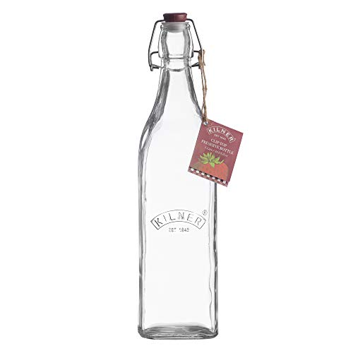 Kilner Square Clip Top Bottle, 8.2 x 8.2 x 31.8 cm