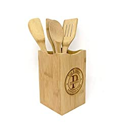 personalized wooden spoon spatula with holder