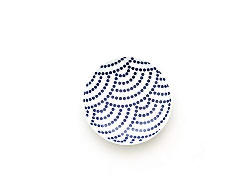 KIHARA - Japanischer Teller Tori Zara, Seikeiha, aus Porzellan. Weiß und blau mit traditionellem japanischen Motiv, Komon-Serie