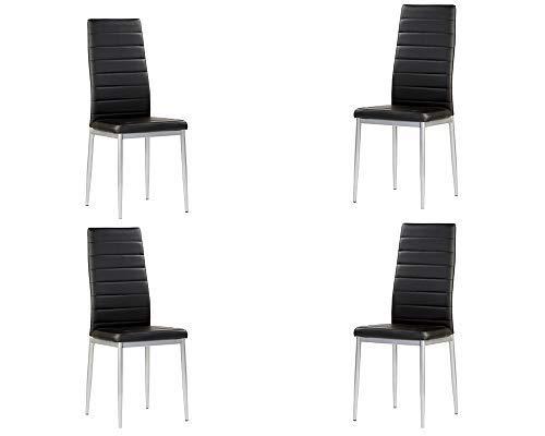 MOMMA HOME Set de 4 Sillas - Modelo Rene - Color Negro/Plata - Material Ecopiel/Metal - Medidas 41 x 47 x 98 cm