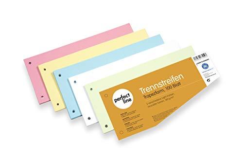 perfect line 100 Stück Papier-Trennstreifen in Trapez-Form, Register-Trenner in 5 Light-Farben, Trenn-Blätter bunt, farbig sortiert, Karten mit 180 g, Laschen zum Trennen der DIN-A4 Ordner & Akten