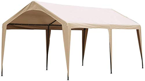 Abba Patio 10 x 20 ft Carport Canopy Fabric Pole Skirts Design Heavy Duty Car Tent Portable Garage Shelter for Party, Wedding, Garden, Boat, Outdoor Storage Shed with 6 Steel Legs, Beige