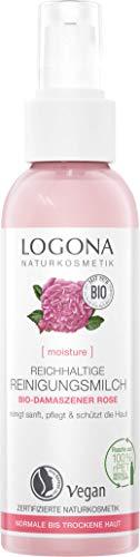 Bio Reichhaltige Reinigungsmilch von LOGONA mit Bio-Damaszener Rose, sanfte & pflegende Reinigung, für normale und trockene Haut, Natürlich und vegan, 125 ml