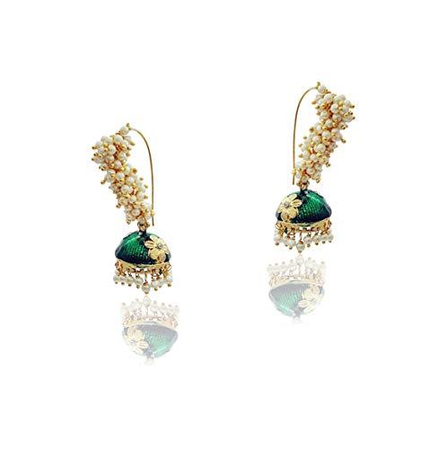 Moonstruck Traditional Long Indian Jhumka Jhumki Golden Dangle Earrings With Pearl For Women (Green)