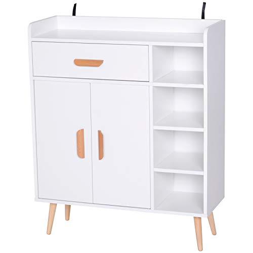 HOMCOM Aparador Buffet Armario Gabinete Consola Mueble Multiusos de Comedor Salón Baño Pasillo 80x29.5x96cm